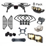 DJI Spark Accessories 8 Pack Bundle Combo: Propeller Guard with Landing Gear, Gimbal Camera Guard, Lens Hood, Finger Guard Board, Joystick Protector, Signal Range Extender, Motor Cap, Propeller Clip