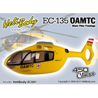 HELIBODY (HELIBODY-EC001) EC-135 OAMTC Fixed Gear Glass Fiber Fuselage - 450 class (HF4501)