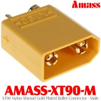 Amass (AMASS-XT90-M) XT90 Nylon Shroud Gold Plated Bullet Connector - Male