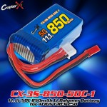 CopterX (CX-3S-850-50C-1) 11.1V 50C 850mAh Li-Polymer Battery for ALIGN T-REX 250