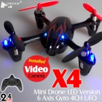 Hubsan (HS-H107C-BR-M2) X4 Mini Drone LED Version 6 Axis Gyro 4CH UFO with Video Camera and Rotor Blades Protection Cover RTF (Black Red, Mode2) - 2.4GHz