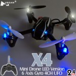 Hubsan (HS-H107L-M2) X4 Mini Drone LED Version 6 Axis Gyro 4CH UFO RTF (Mode2) - 2.4GHz