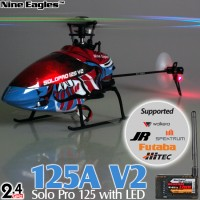Nine Eagles (NE-R/C-125A-SOLO-PRO-V2-B-GL) SOLO PRO 125 V2 LED Version 6CH Flybarless Micro Helicopter with General Link ARTF (Blue) - 2.4GHz