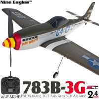 Nine Eagles (NE-R/C-783B-3G) P51 Mustang 3G 3 Axis Gyro 5CH Airplane with JF-MCHB SLT Transmitter RTF - 2.4GHz