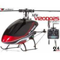 WALKERA NEW V120D02S Flybarless 6-Axis-Gyro System 6CH Helicopter with DEVO 6S,7,8S,10 or 12S Transmitter RTF (Red) - 2.4GHz