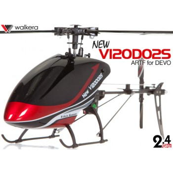 WALKERA NEW V120D02S Flybarless 6-Axis-Gyro System 6CH Helicopter For DEVO Transmitter (TX not included) ARTF (Red) - 2.4GHzWalkera Helicopters